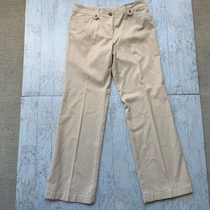 Ann Taylor Lindsay Pants Tan Stretchy Sz 6 Button